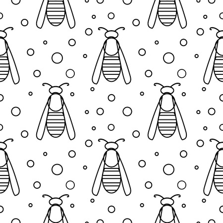 wasps: Seamless vector pattern with insects, symmetrical  black and white background with wasps and dots. Illustration
