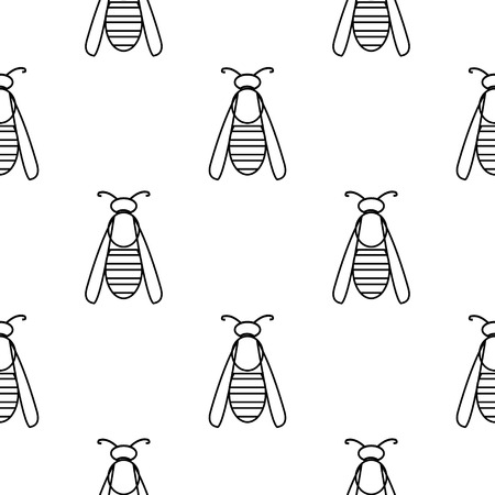 wasps: Seamless vector pattern with insects, symmetrical  black and white background with wasps