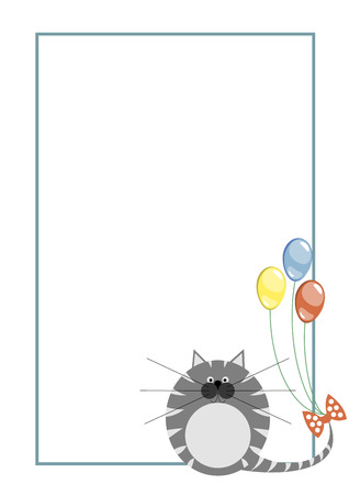 grey cat: Vector blank for letter or greeting card. White paper form with grey pretty cat, colorful balloons, and border. A4 format size.