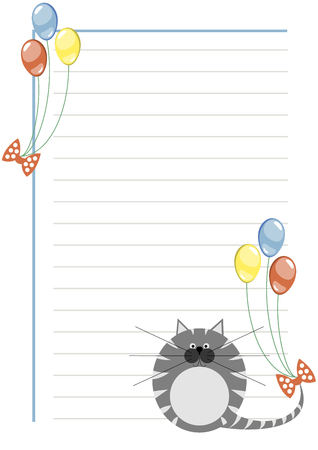 grey cat: Vector blank for letter or greeting card. White paper form with grey pretty cat and colorful balloons, lines and border. A4 format size.