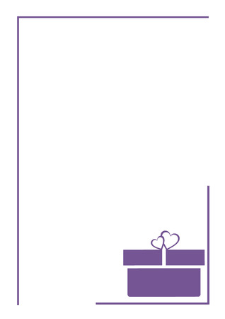 box size: Vector blank for letter or greeting card. White paper form with violet gift box, and border. A4 format size.