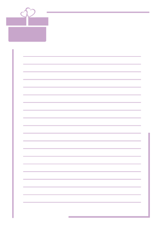 box size: Vector blank for letter or greeting card. White paper form with violet gift box, lines and border. A4 format size.