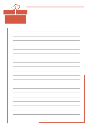 empty box: Vector blank for letter or greeting card. White paper form with red gift box, lines and border. A4 format size.