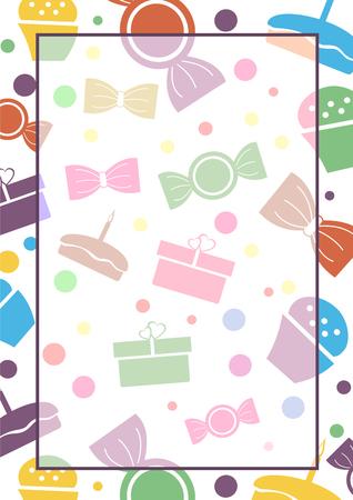 Vettore in bianco per lettera o biglietto di auguri. modulo di carta bianca con doni colorati, dolci, linee e confini. Formato A4 formato. Vettoriali