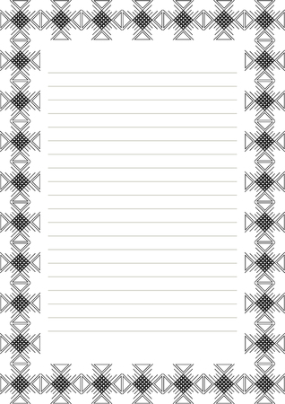 charter: Vector blank for letter, card or charter. White paper form with red decorative ornamental border. A4 format size.