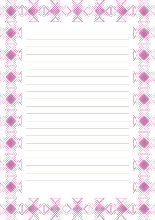 charter: Vector blank for letter, card or charter. White paper form with pink decorative ornamental border. A4 format size. Illustration