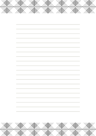 charter: Vector blank for letter, card or charter. White paper form with black decorative ornamental border. A4 format size.