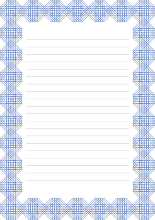 charter: Vector blank for letter, card or charter. White paper form with blue decorative ornamental border. A4 format size. Illustration