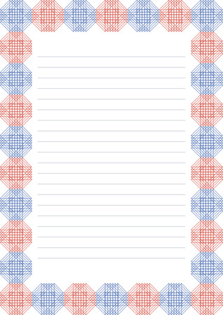 charter: Vector blank for letter, card or charter. White paper form with red and blue decorative ornamental border. A4 format size.