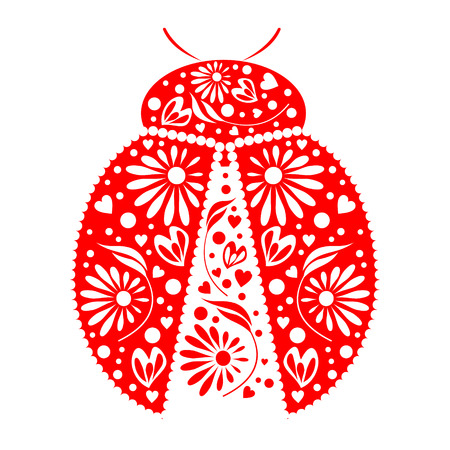 cartoon bug: Vector illustration. Icon of decorative ornamental red ladybug, isolated over white background