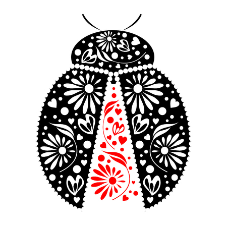 Vector illustration. Icon of decorative ornamental black ladybug, isolated over white background