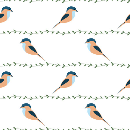 titmouse: Seamless vector pattern with animals. Symmetrical background with colorful birds and branches on the white backdrop. Series of Animals and Insects Seamless Patterns. Illustration