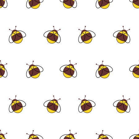 Seamless vector pattern with insects. Background with little bees on the white backdrop. Serie of Animals and Insects Seamless Pattern.