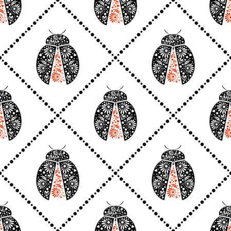 Seamless vector pattern with insects, symmetrical background with bright decorative black and red closeup ladybugs, over white backdrop. Series of Animals and Insects Seamless Patterns. Illustration