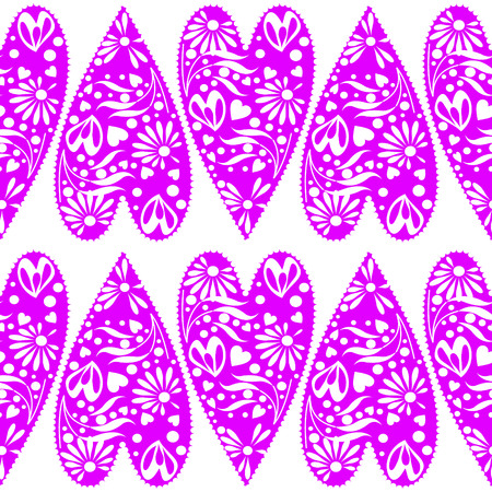 symmetrical: Seamless vector pattern. Symmetrical background with closeup decorative violet hearts