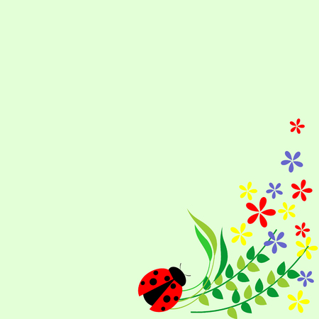 lady cow: Floral card. Colorful flowers, leaves and ladybug. Vector design. Series of Cards, Blanks and Forms.