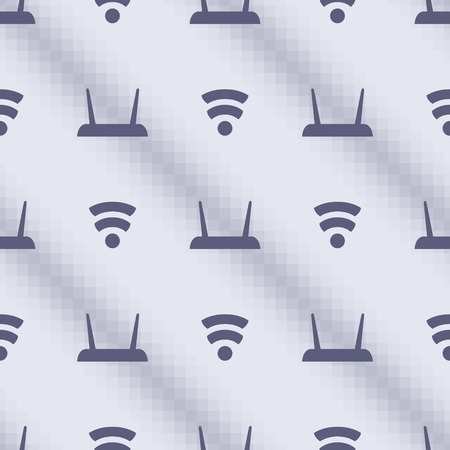 inet symbol: Seamless vector pattern, blue symmetrical background with wifi routers. Series of Technology Seamless Patterns