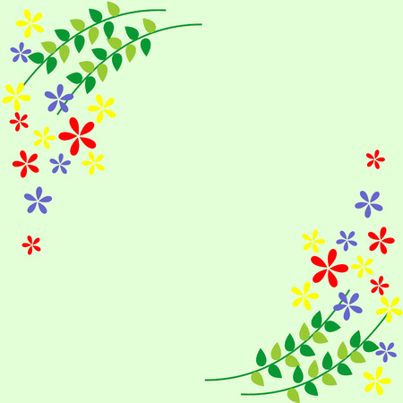 blanks: Floral card. Colorful flowers and leaves Vector design. Series of Cards, Blanks and Forms.