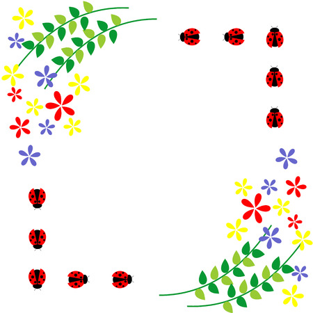 Floral card. Colorful flowers, leaves and ladybugs. Vector design. Series of Cards, Blanks and Forms.