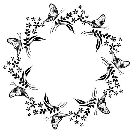 Cornice floreale con insetti. Fiore bianco e bianco, foglie e farfalle disposte in una forma del cerchio. Disegno vettoriale. Serie di schede, bolle e forme.