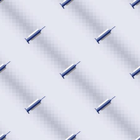 medical preparation: Seamless vector pattern,  blue symmetrical background with medical syringe