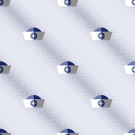 symmetrical: Seamless vector pattern,  blue symmetrical background with medical caps