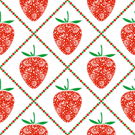 Seamless fruits vector pattern, bright symmetrical background with closeup decorative ornamental strawberries and rhombus, on the white backdrop. Series of Fruits and Vegetables Seamless Patterns.