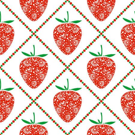 fruits sans soudure de motif de vecteur, fond symétrique lumineux avec des fraises d'ornement décoratif agrandi et losanges, sur la toile de fond blanc. Série de fruits et légumes Patterns sans soudure.