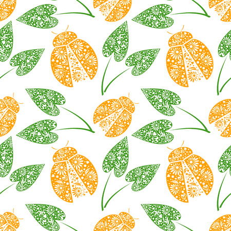 over white: Seamless vector pattern with insects, chaotic background with bright decorative orange closeup ladybugs and green leaves, over white backdrop. Series of Animals and Insects Seamless Patterns.