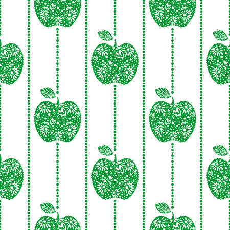 Seamless vector pattern,  bright  fruits symmetrical background with green decorative ornamental apples, on the white backdrop. Series of Fruits and Vegetables Seamless Patterns. Illustration