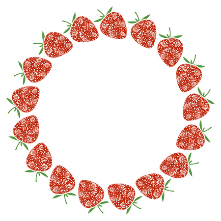 blanks: Vector card with berries. Empty round form with ornamental strawberries. Decorative frame. Series of Cards, Blanks and Forms.