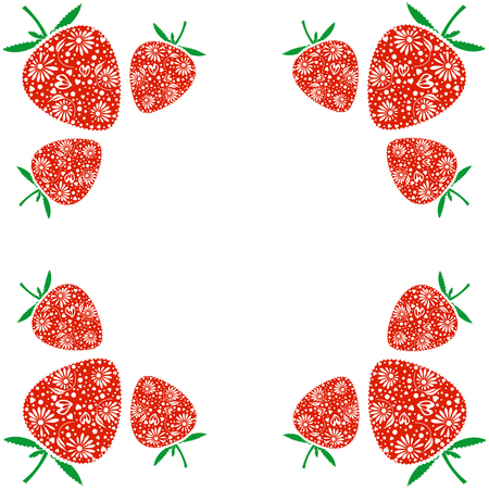 blanks: Vector card with berries. Empty square form with ornamental strawberries. Decorative frame. Series of Cards, Blanks and Forms. Illustration