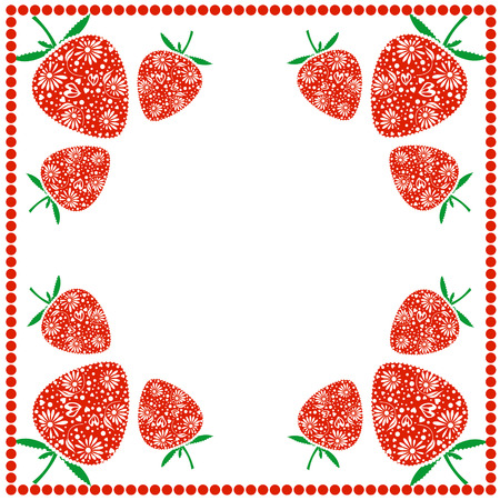 blanks: Vector card with berries. Empty square form with ornamental strawberries and border with dots. Decorative frame. Series of Cards, Blanks and Forms. Illustration