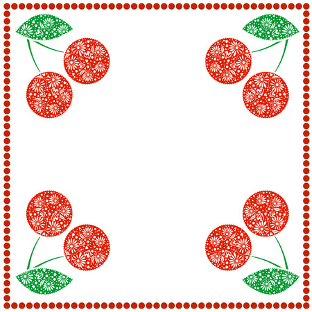 blanks: Vector card with berries. Empty square form with ornamental cherries, leaves and border with dots. Decorative frame. Series of Cards, Blanks and Forms.