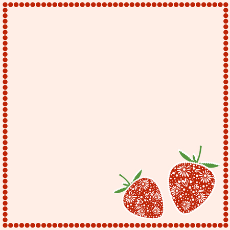 empty frame: Vector card with berries. Empty square form with ornamental strawberries and border with dots. Decorative frame. Series of Cards, Blanks and Forms. Illustration