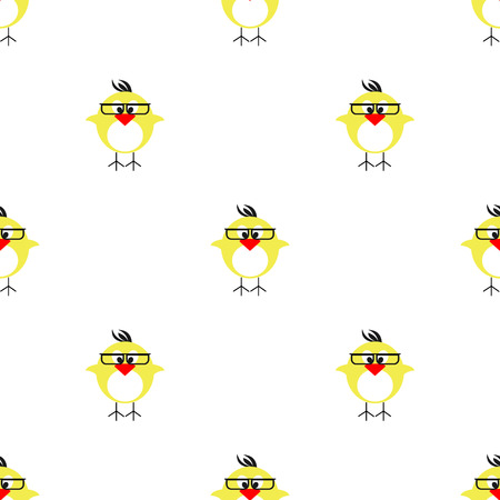 chikens: Seamless vector pattern with animals, cute symmetrical background with chikens with glasses and dots. Series of Animals and Insects Seamless Patterns.