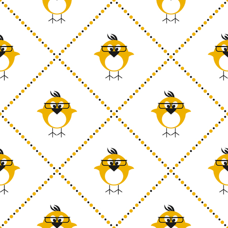 chikens: Seamless vector pattern with animals, cute symmetrical background with chikens with glasses and dots in the shape of rhombus. Series of Animals and Insects Seamless Patterns.