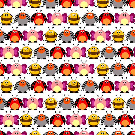 lady cow: Seamless vector pattern with insects. Cute background with colorful comic butterflies, ladybugs, colorado beetles and bees. Series of Animals and Insects Seamless Pattern. Illustration