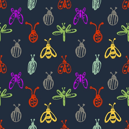 wasps: Seamless vector pattern with insects, background with ladubugs, wasps, beetle, butterflies and dragonflies. Hand sketch drawing. Series of Insects and Hand Drawn Patterns.