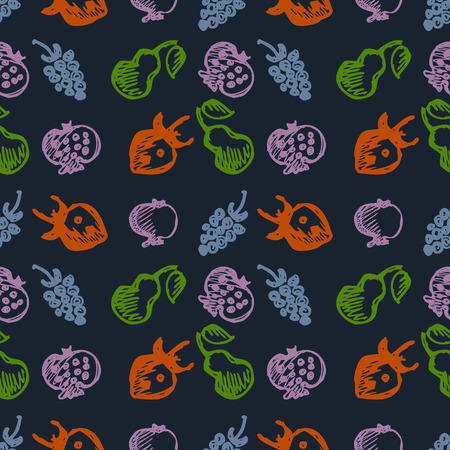 blackberries: Seamless fruits vector pattern, background with colorful strawberries, pomegranates, pears and blackberries. Hand sketch drawing. Series of Fruits and Hand Drawn Patterns.
