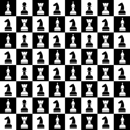 Seamless vector chaotic pattern with black and white chess pieces. Series of Gaming and Gambling Patterns.