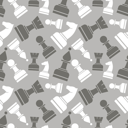 Seamless vector chaotic pattern with grey and white chess pieces. Series of Gaming and Gambling Patterns.