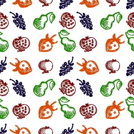 blackberries: Seamless fruits vector pattern, background with colorful strawberries, pomegranates, pears and blackberries. Hand sketch drawing. Imitation of ink drawing. Series of Fruits and Hand Drawn Patterns. Illustration