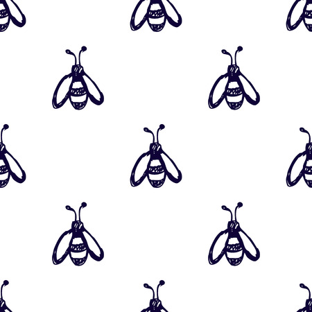 wasps: Seamless vector pattern, background with cute wasps on the white backdrop. Hand sketch drawing. Imitation of ink pencilling. Series of Insects and Hand Drawn Patterns. Illustration