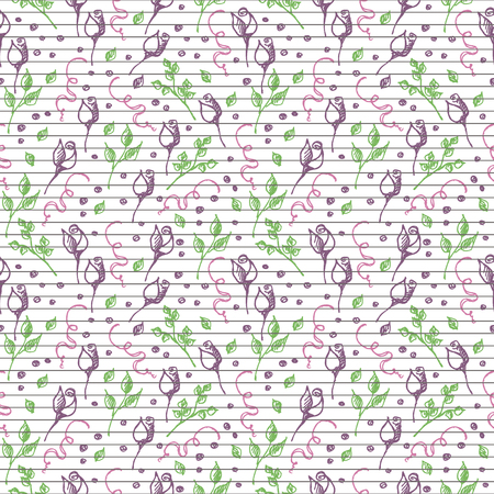tenon: Seamless vector pattern, background with roses, branches and leaves on the lined white backdrop. Hand sketch drawing. Imitation of ink pencilling. Series of Hand Drawn Patterns.