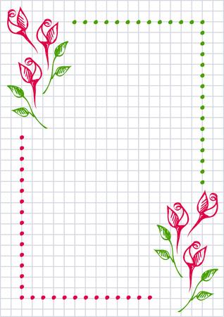Vector Floral Leer Für Brief Oder Grußkarte. Checkered Papier, Weiß ...