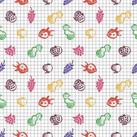 blackberries: Seamless fruits vector pattern, background with strawberries, pomegranates, pears and blackberries. Hand sketch drawing. Imitation of ink drawing. Series of Fruits and Hand Drawn Patterns.