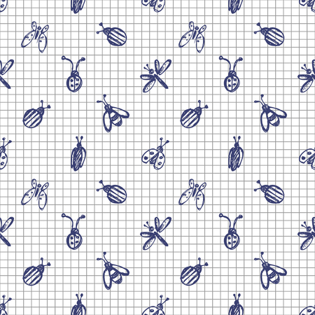 wasps: Seamless vector pattern with insects, background with ladubugs, wasps, beetle, butterflies and dragonflies. Hand sketch drawing. Imitation of ink pencilling. Series of Insects and Hand Drawn Patterns.