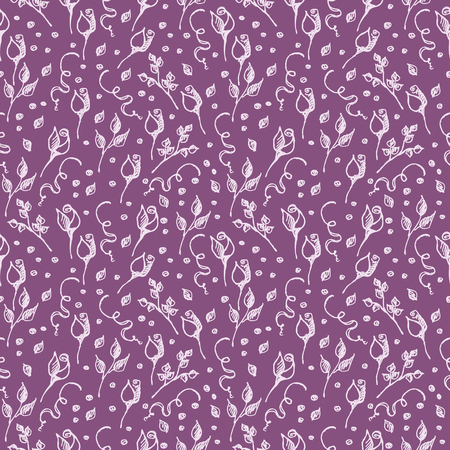 tenon: Seamless vector pattern, background with roses, branches and leaves on the violet backdrop. Hand sketch drawing. Imitation of ink pencilling. Series of Hand Drawn Patterns.