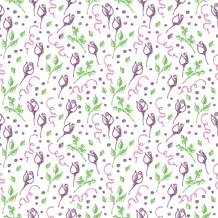 tenon: Seamless vector pattern, background with roses, branches and leaves on the white backdrop. Hand sketch drawing. Imitation of ink pencilling. Series of Hand Drawn Patterns. Illustration